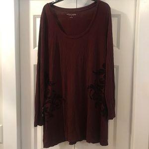 Soft Surroundings Burgundy Velvet Detail Tunic XL